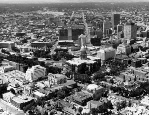 A black and white arial photo of Capitol hill form the early twentieth century