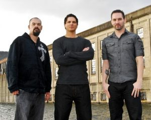 photo shows the men of the ghost adventures show. Aaron, Zak, and Nick.